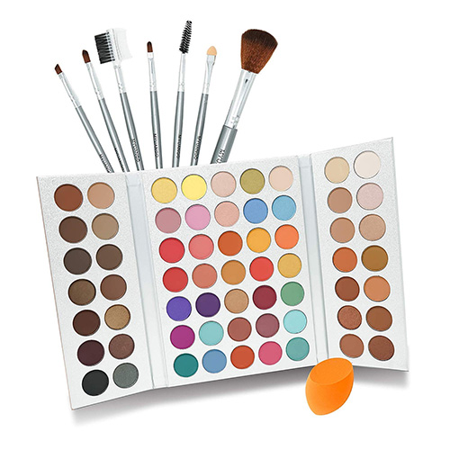 Beauty Glazed 63 Pop Colors Eye Shadow Palette with Makeup Brushes Set and Powder Sponge Blender