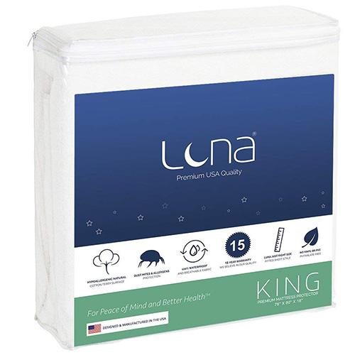 Luna Premium Hypoallergenic 100% Waterproof Mattress Protector