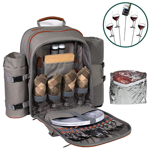 Picnic Backpack and Blanket Set for Between Two and Four